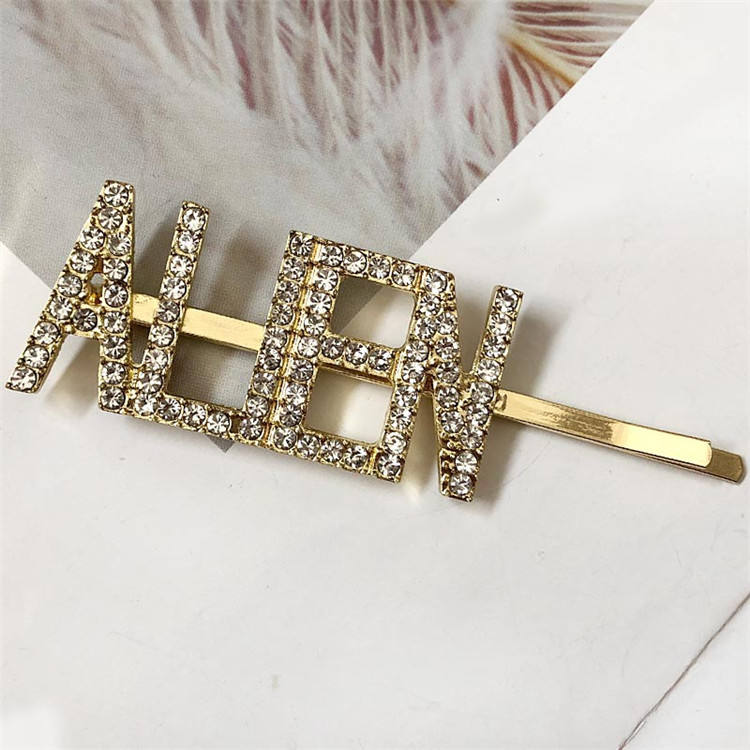 36 Styles Hot Sale Customized Name Letter Hair Clip Hairgrips Accessories ALIEN Word Crystal Bobby Hair Pin