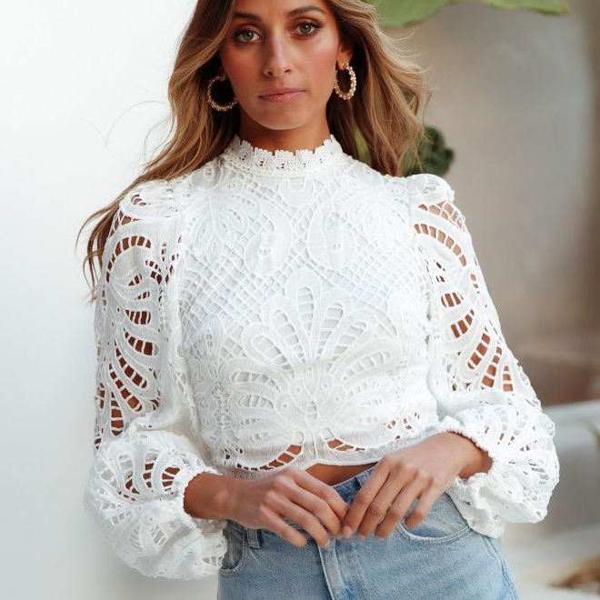 Women Lace Blouse long sleeve girls lovely floral embroidery shirt 2019 summer ladies stand collar blouse woman tops femme chic