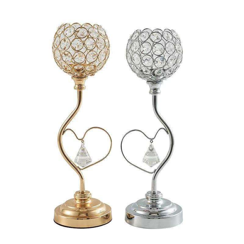 metal crystal candle holder centerpiece Christmas candlestick creative heart-shaped hollow candlestick