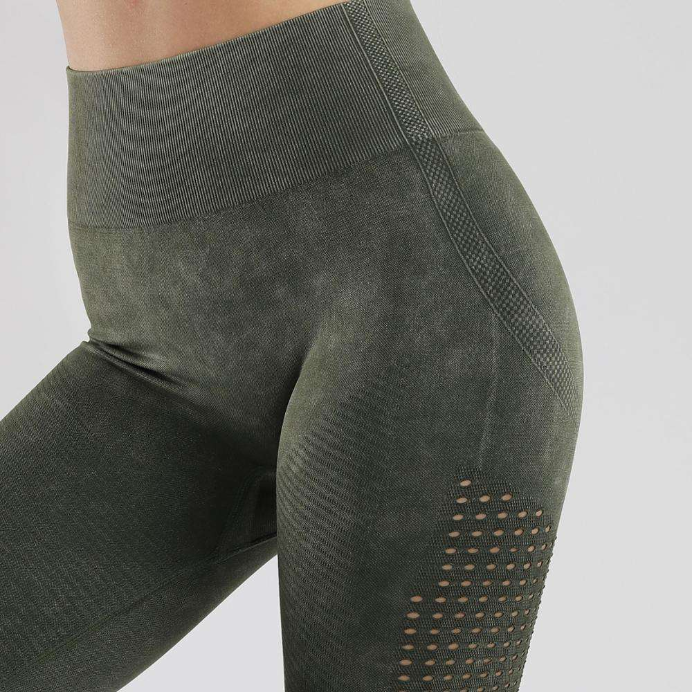 Hot Sell Acid Wash Seamless Leggings Women Hollow Fitness Leggings