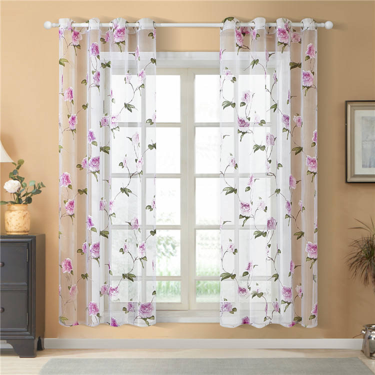 High Quality Nordic Flower Pink 54x63 Polyester Printed Window Decoration Sheer Voile Net Curtain