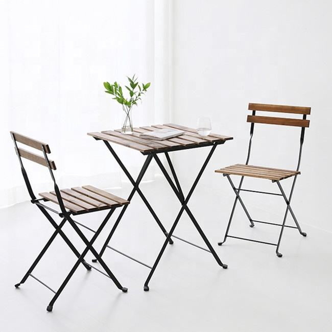 outdoor garden use acacia wood top metal frame folding table and chair set with square or round shape