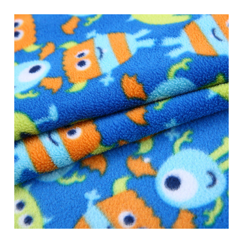 New product cartoon pattern brushed 100% polyester micro printed polar fleece fabric