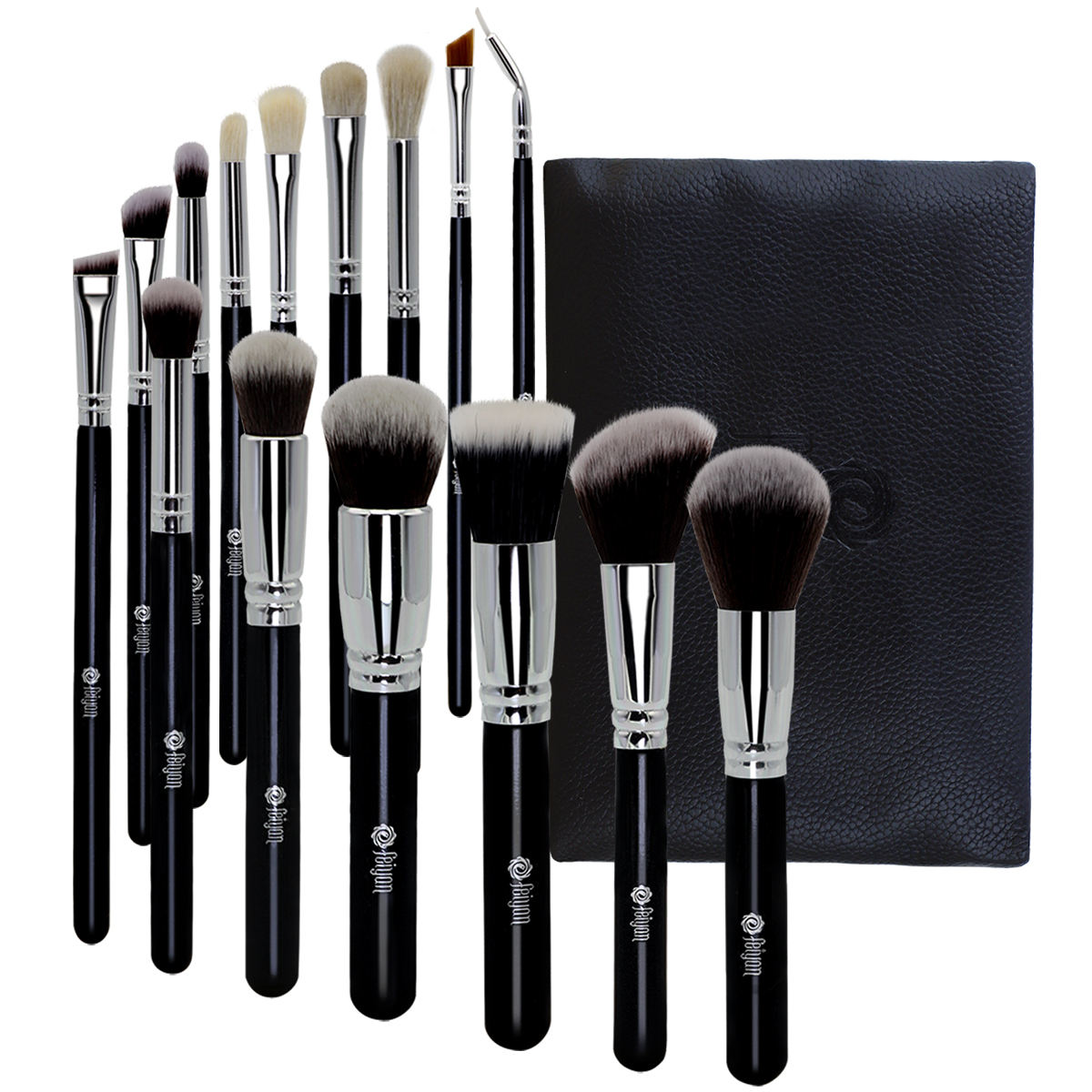 Hot sale 15pcs black silver make up brush set with your logo low quantity