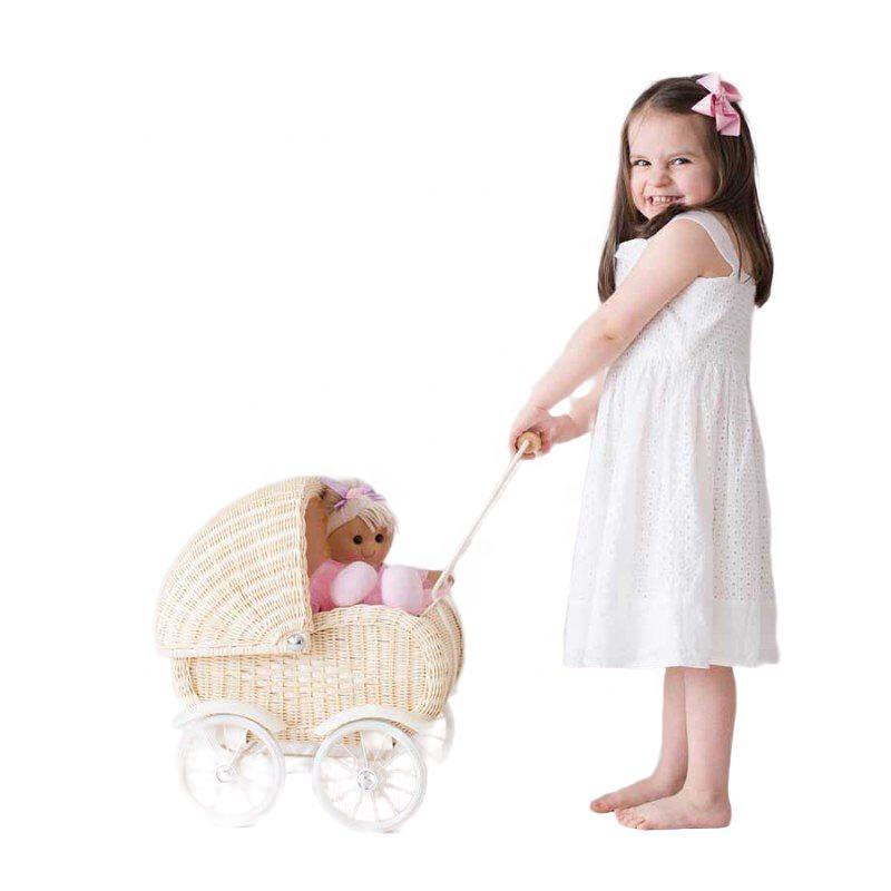 New arrivals 2020 wholesale best selling product hand woven baby pram basket wicker baby doll pram rattan doll pram with wheels