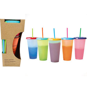 New Design Product Summer Reusable Plastic Bulk Home Drink Water Temperature Color Changing Tumbler Cups