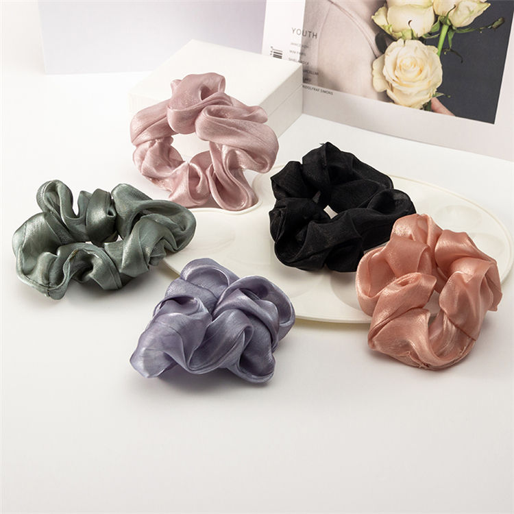 High Quality Colorful Soft Wholesale Cheap Polyester Fabric Elastic Hair Scrunchies