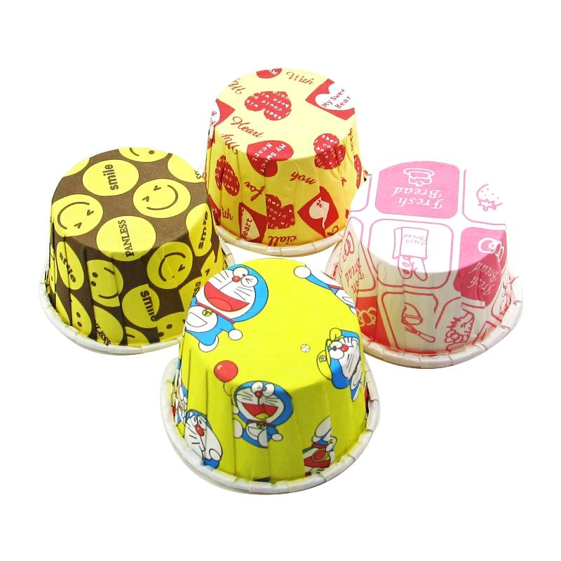 Food Grade color Printed PET Film Disposable Bread Souffle Paper Baking Cups