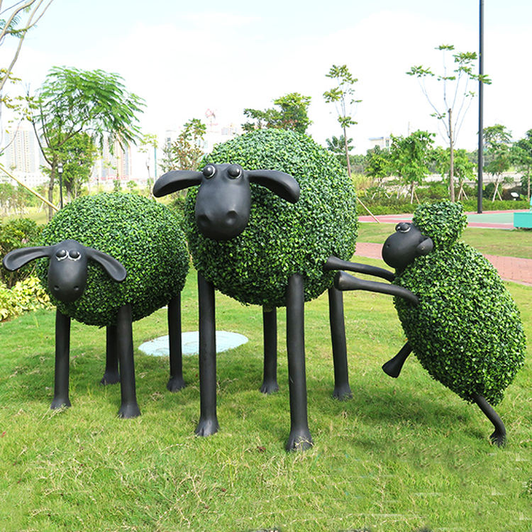 wholesale new style artificial goat shape garden decoration planter topiary animals with wire topiary frames
