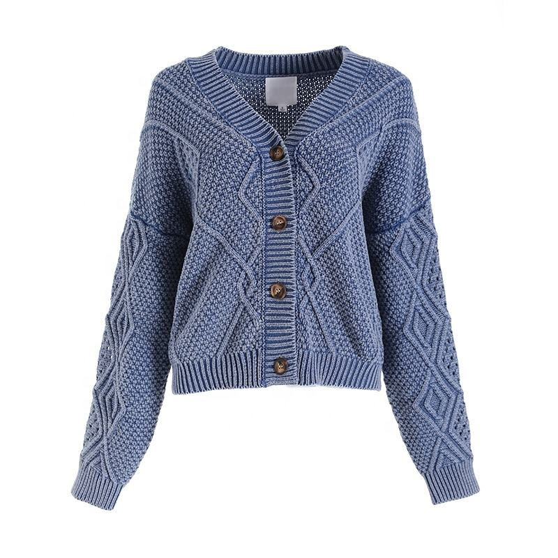 Latest women's vintage oversized button-down cardigans are cotton acid wash sweater