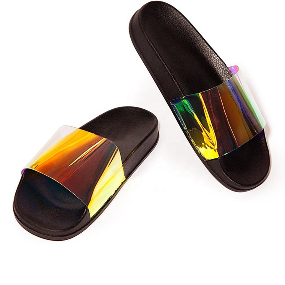 Candy color summer laser transparent sandals shoes wholesale fashion flat eva female ladies women's slippers
