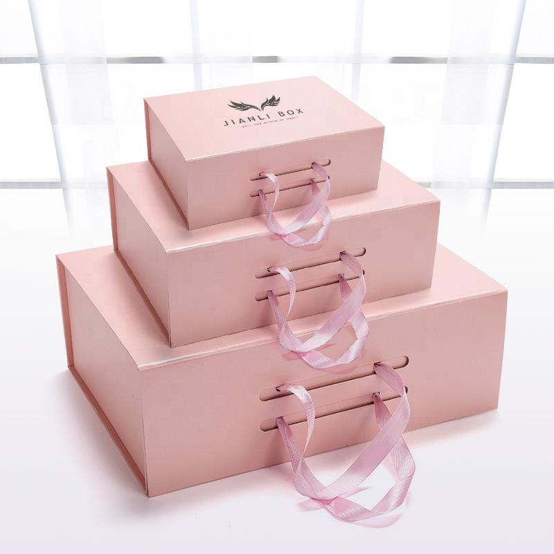 Factory Ribbon closure suitcase gift box ribbon packaging box with handles