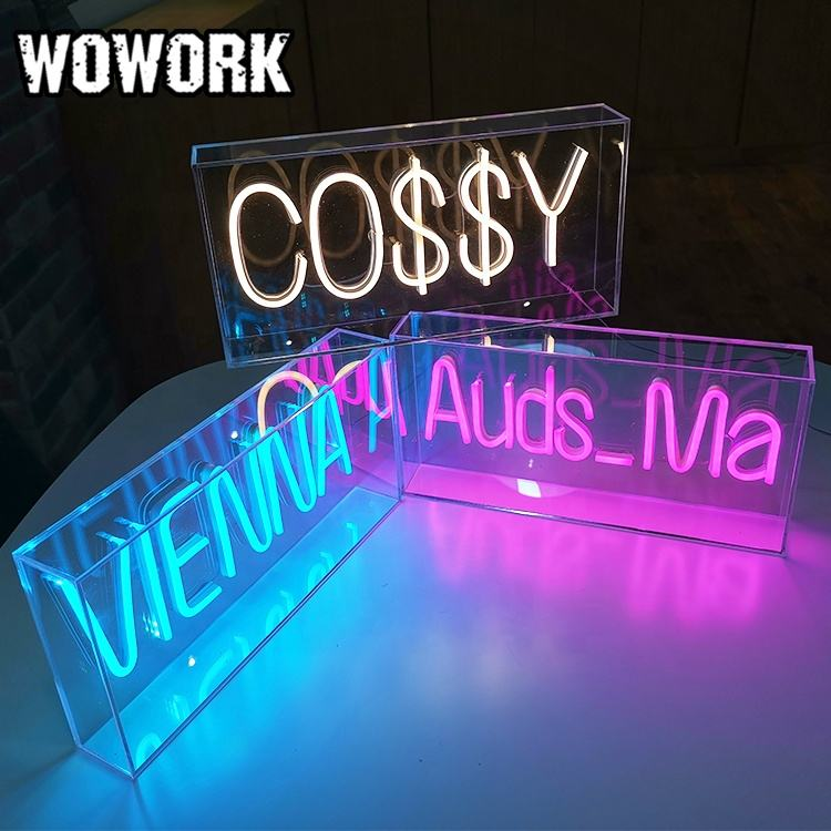 WOWORK custom acrylic neon box of RGB Flexible neon for Store LOGO indoor desktop decoration
