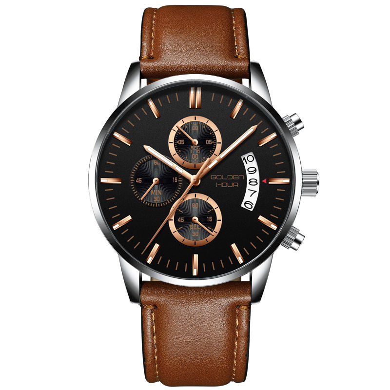 Top brand luxury fashion business quartz leather watch men's sports waterproof black clock men's watch