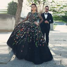Latest Long Sleeve Black Evening Dresses Colorful Lace Appliques Tulle Party Dress Long Prom Gown