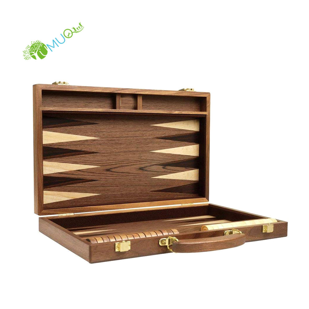 "YumuQ 15"" Solid Wooden Backgammon Board Strategy Games Set"