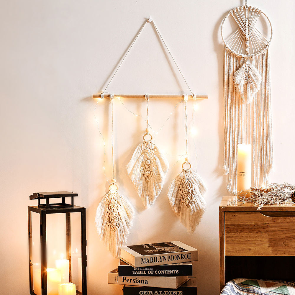 Hot Woven Leaves Feather Tapestry Cotton Macrame Wall Hanging Wedding Decoration