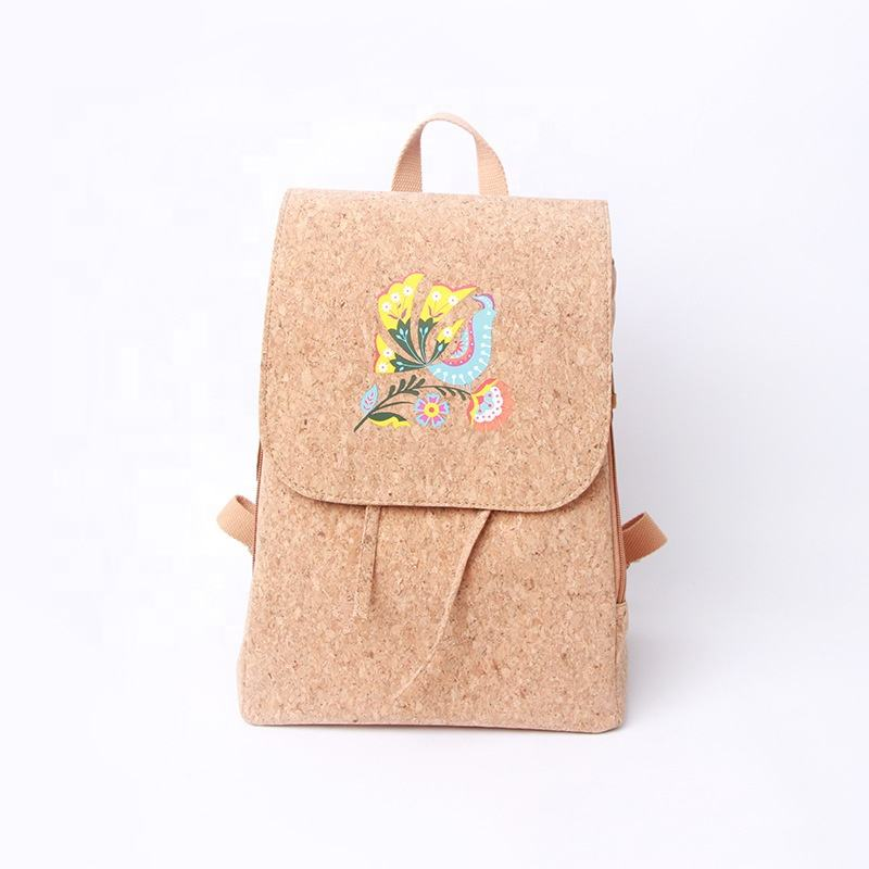 Natural color cork pollution-free environmental protection cork backpack students pack girl students backpack