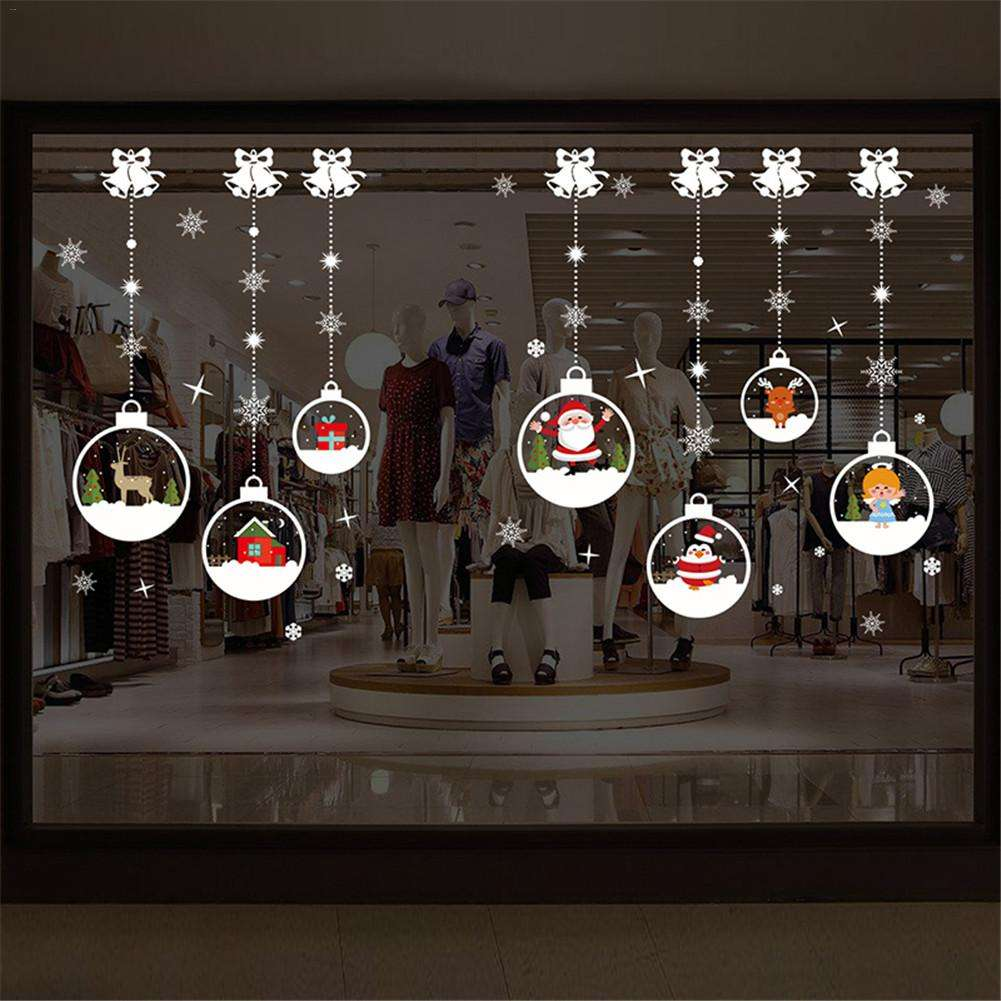 Christmas Crystal Ball Chain Pattern Self-adhesive Living Room Bedroom Wall Sticker Wall Art Home Decor Christmas Decoration