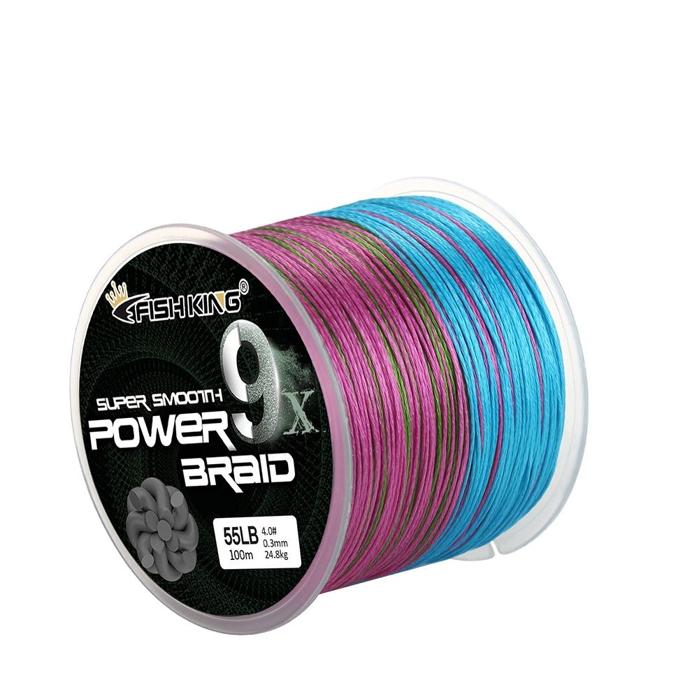 Fishing King-sedal trenzado de Pe multicolor, 100M, 9X hebras, pesca, precio al por mayor