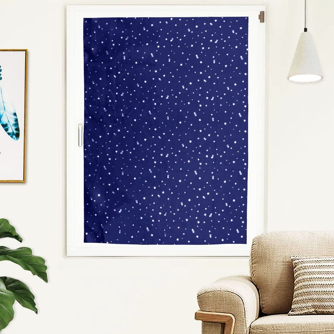High quality stars printed portable blackout blind curtain removable black suction cups curtain