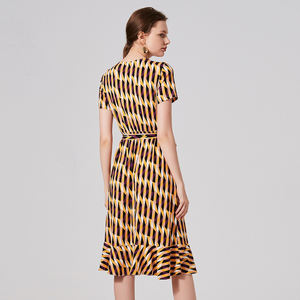 Naivee 2020 fashion summer geometric printing wrap dress Striped casual long sleeve dress for women ladies