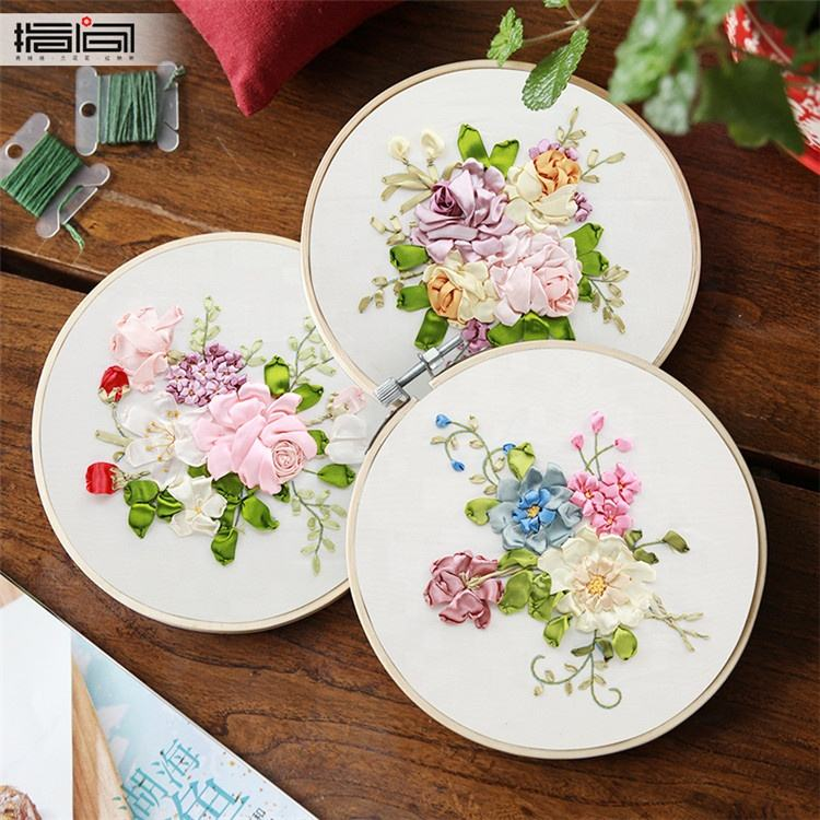 Por atacado Do Vintage Flores Arte Handmade Craft Home Decor 3d Fita Bordado com aro de bambu