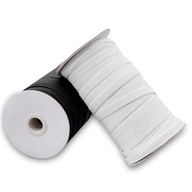 High Elastic Spool Factory Supply Black/White 10mm Woven Ribbon Knitted Elastic Rope Flat Elastic Band