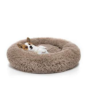 Pet supplier manufacturer wholesale pink luxury donut round plush dog pet cat bed