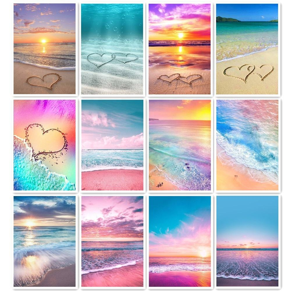Interior decoration diy diamond painting beautiful seaside landscape mural leisure entertainment diamond painting