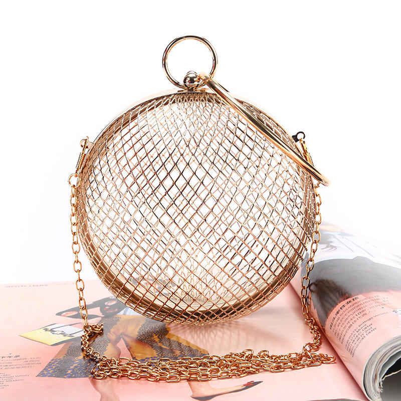 New European American Style Ladies Iron Mesh Ball Bags Dinner Evening Metal Round Bag Fashion Hollow Out Chain Shoulder Handbags