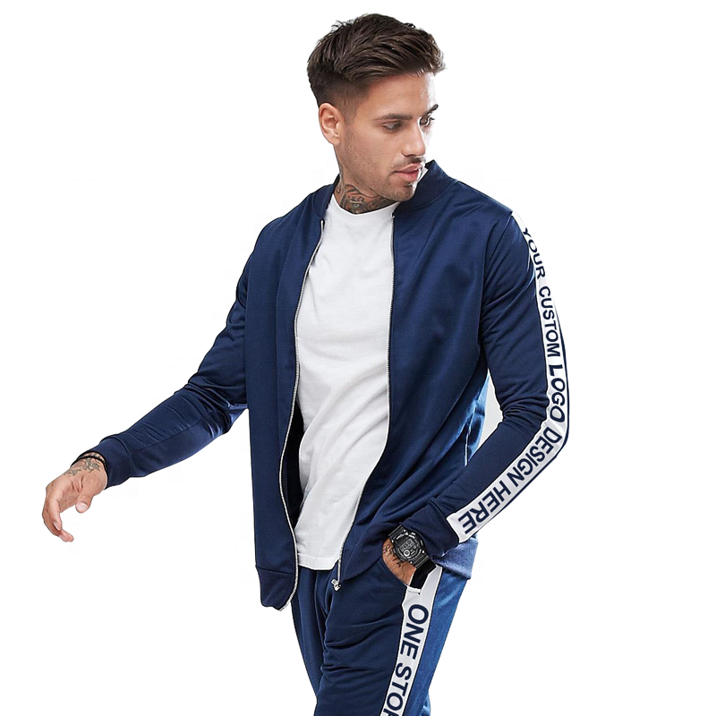 2018 New Stylish Custom Mens Plain Zipper Cotton Bulk Sweatsuit Tracksuit With Stripe