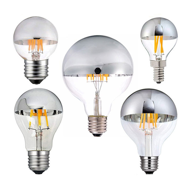Led Dimbare <span class=keywords><strong>Lamp</strong></span> <span class=keywords><strong>E14</strong></span> E12 Led Crown Zilveren Spiegel Licht <span class=keywords><strong>Lamp</strong></span> <span class=keywords><strong>4W</strong></span> 6W 8W Warm Wit 2700K G45 G125 Led E26 E27 220V Lampen