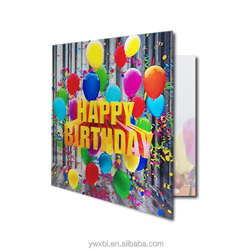Zebulun 3D lenticular happy birthday cards PET material 15*15 cm card lenticular in plastic craft greeting card for gift