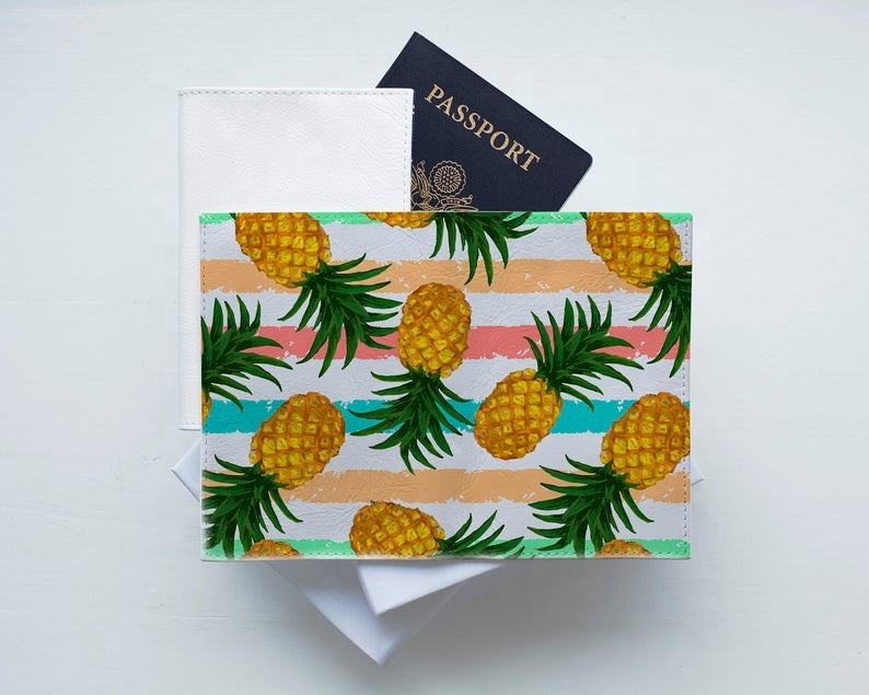 Unisex High Quality Wholesale PU Leather Passport Cover Cute Pineapple Print US Passport Holder