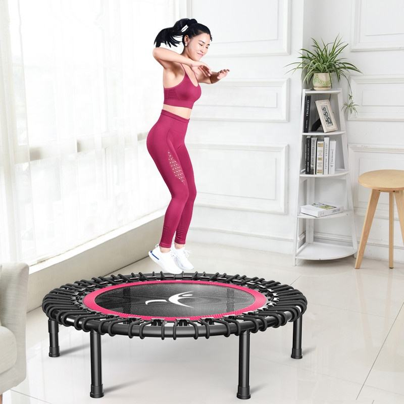 Fitness trampoline Silent Mini with Adjustable Handle length Adults Kids indoor GYM Bungee Rebounder Jump Trainer Workout