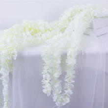 Real Touch White Wisteria Rattan Silk Flowers Artificial Hanging Orchid String Flowers Garlands for Wedding Party Decor