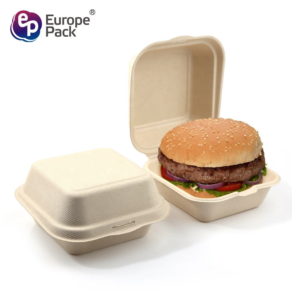 Compostable Ecofriendly Sugarcane Bagasse Take Away Burger Box Biodegradable Lunch Box Custom Hamburger Packaging Boxes