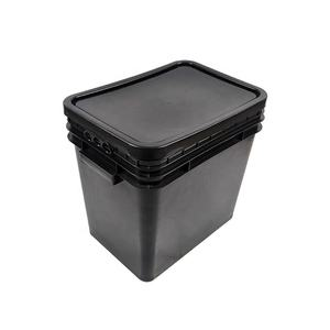 Usable 25L Square Plastic Bucket With Lids Black