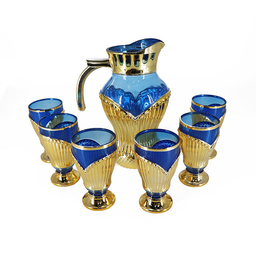 Hot Selling Glass Tea Pot Blue Glass Tea Cup Set with Teapot