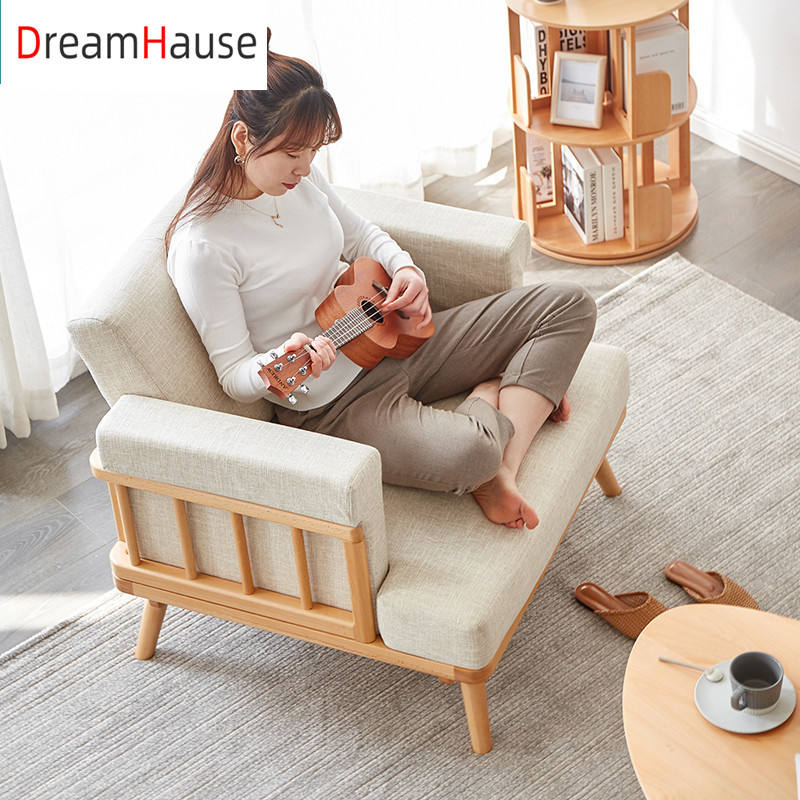 Dreamhause Nordic Beech Wood Sofa Set Modern Simple Apartment Fabric Sofa Removable And Washable Sofa Winter And Summer Used