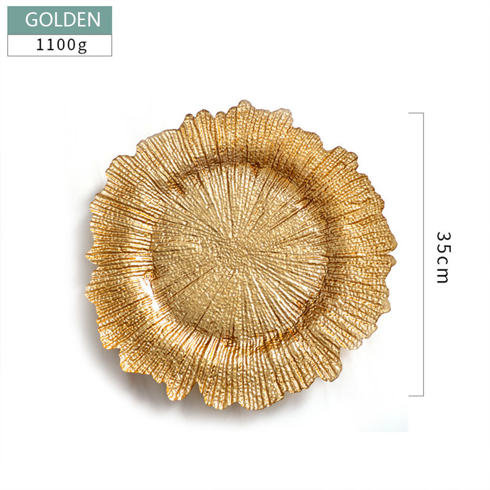 Wedding Table Decorative13inch、Plastic Gold Reef Charger Plate/