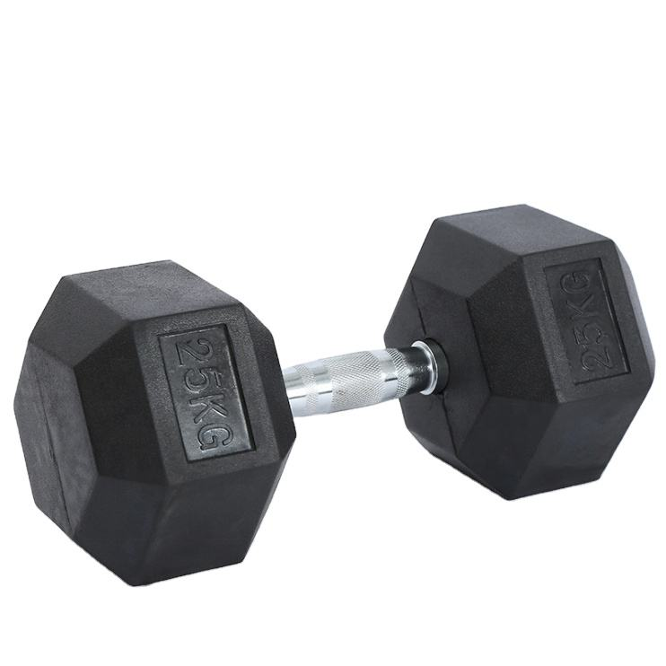 Gym Using Rubber Covered Cast Iron Dumbbells