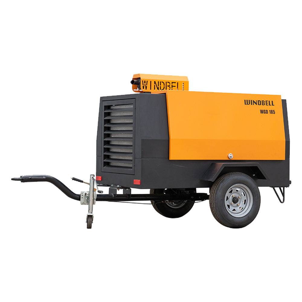 185Cfm Diesel Portable Air Compressor For Mining Drilling Rig