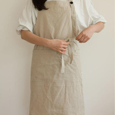 Custom Japanese-Korean Style Pure Natural Linen Cotton Simple Artist Fashion Long Kitchen Apron