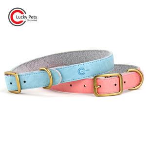 luxury innovative pet products accessories vegan leather dog collar with metal buckles