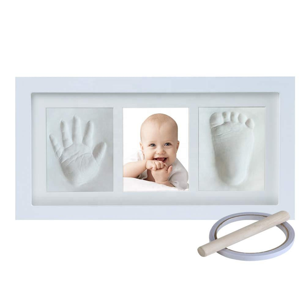 Baby Hand and Footprint Keepsake Photo Frame Registry Kit for Wall Mount & Desktop Mount Decor NO mold