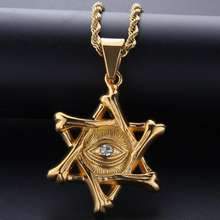 Elva jewelry 2020 hip hop Star of David diamond  pendant necklace Ojo del diablo
