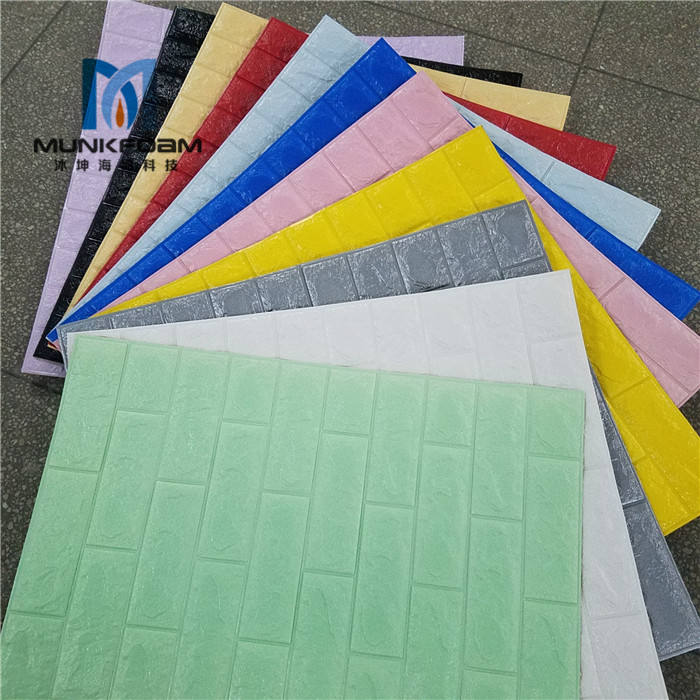 Plastic Hot PE Foam 3D Wallpaper Embossed Brick Stone DIY Stickers