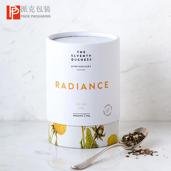 Tea paper tube packaging food grade cardboard cylinder container for tea round box packaging